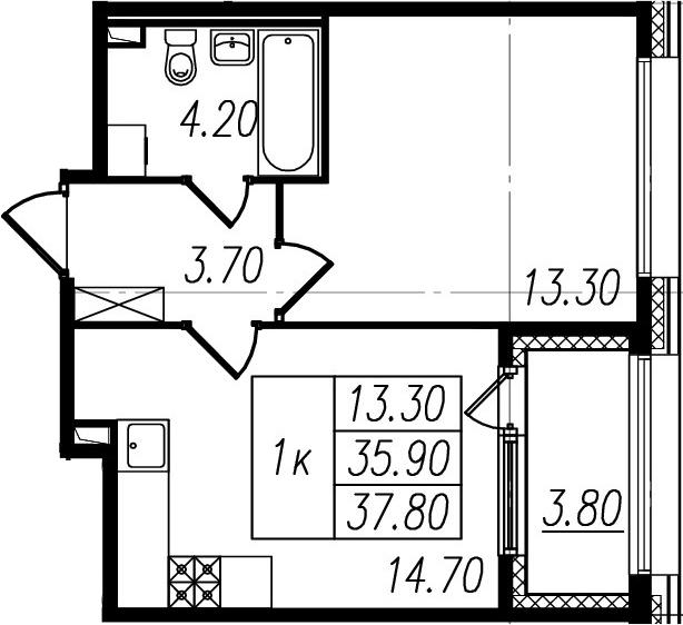 2Е-к.кв, 35.9 м², 1 этаж