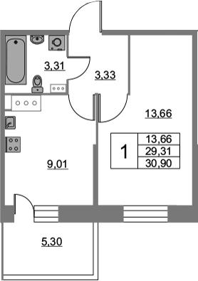 1-комнатная квартира, 30.9 м², 4 этаж – Планировка