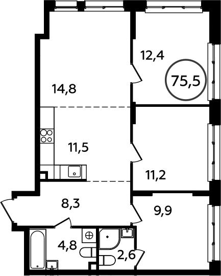 4Е-к.кв, 75.5 м²