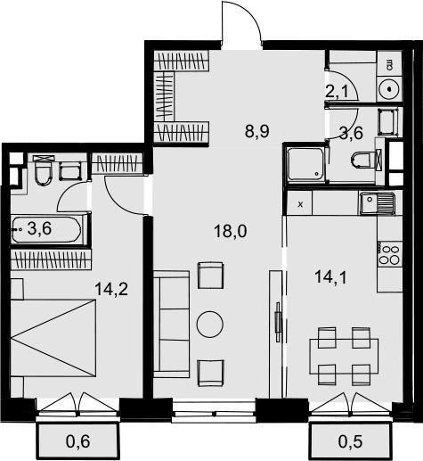 2-комнатная, 65.6 м²– 2