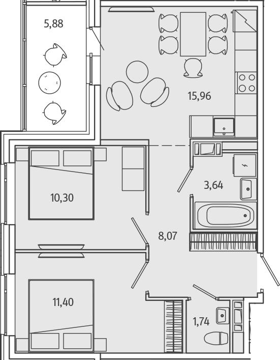 3-к.кв (евро), 56.98 м²