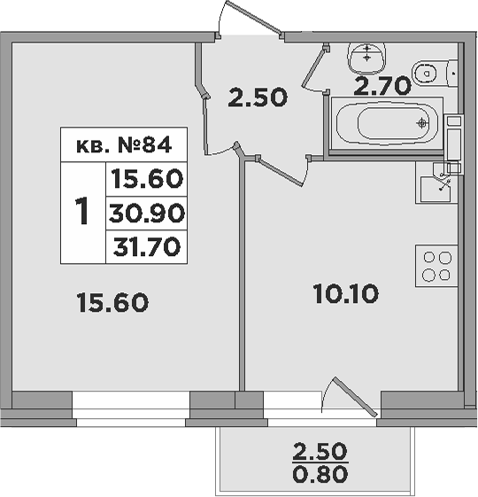 1-к.кв, 30.9 м²