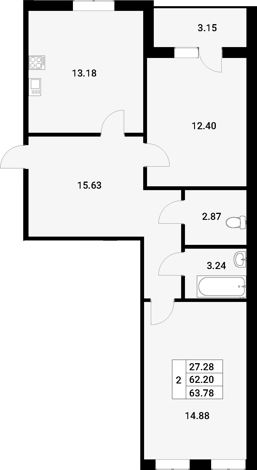 2-к.кв, 65.36 м²