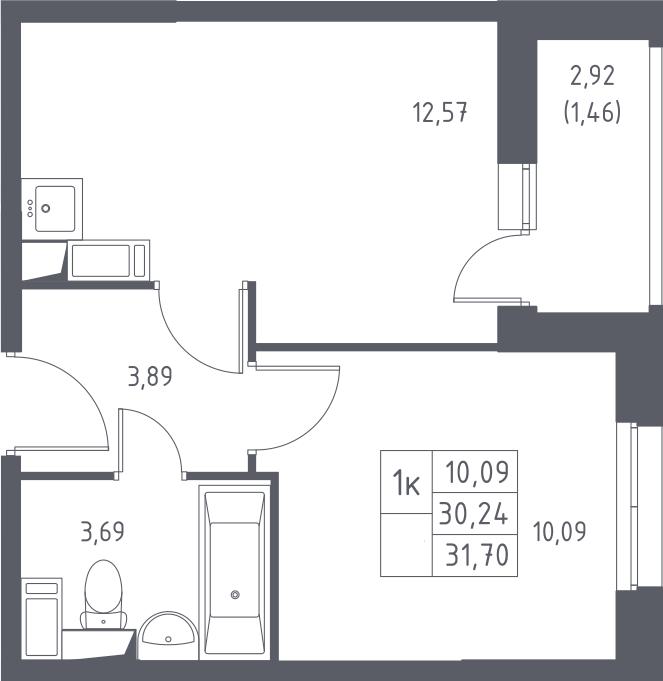 1-комнатная, 31.7 м²– 2
