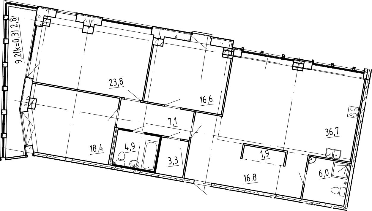 4Е-комнатная, 138.3 м²– 2