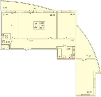 3-к.кв, 120.57 м²