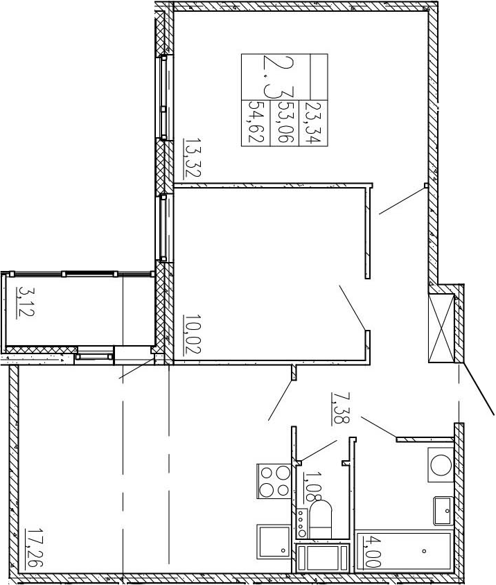 3-к.кв (евро), 56.18 м²