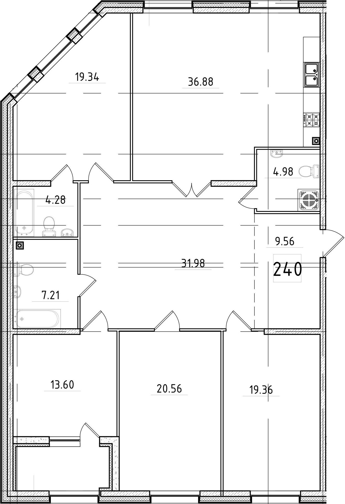 5Е-к.кв, 170.38 м², 2 этаж