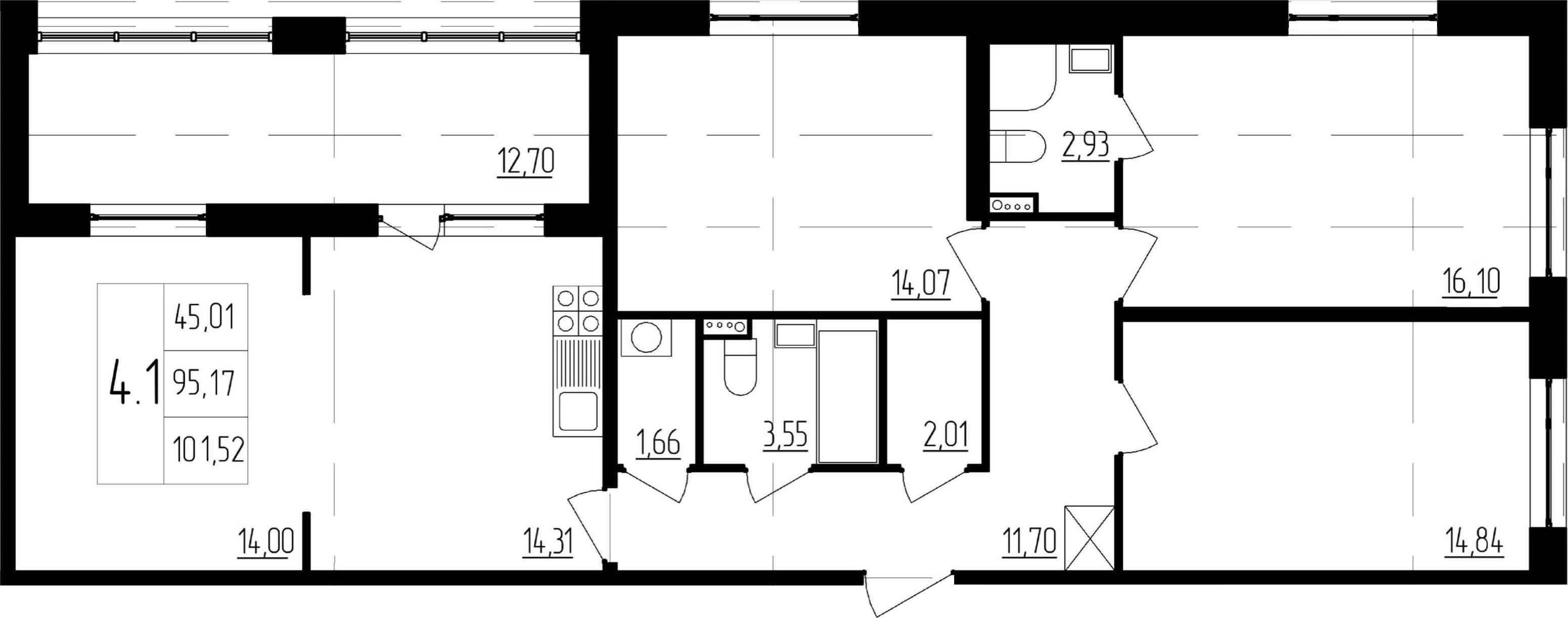 4Е-комнатная, 95.17 м²– 2