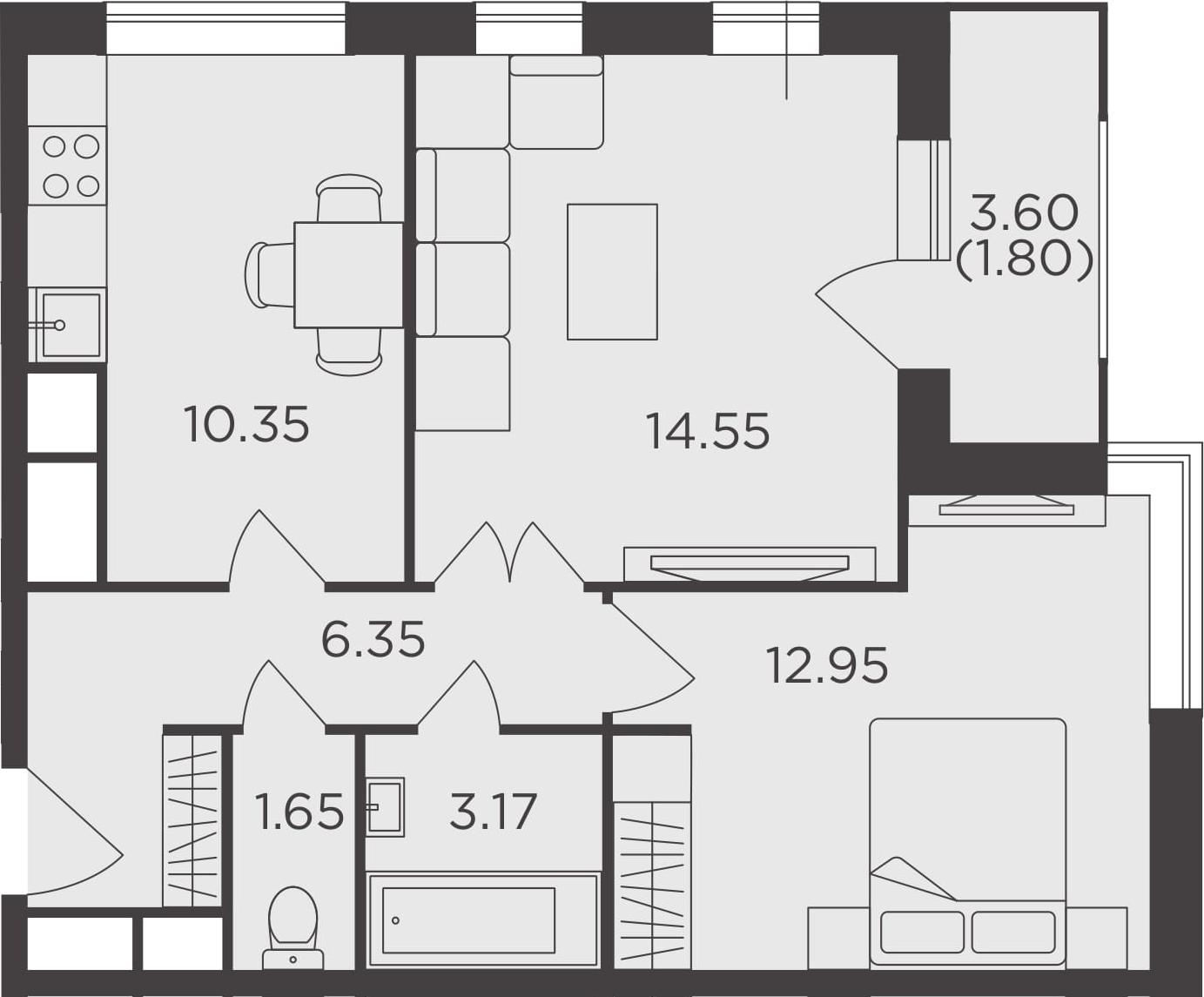 2-к.кв, 50.82 м²