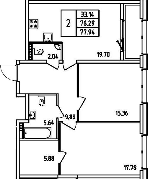 3Е-комнатная, 77.94 м²– 2