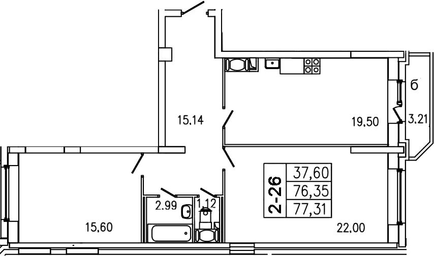 3-к.кв (евро), 79.56 м²