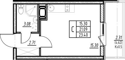 Студия, 21.09 м², 3 этаж