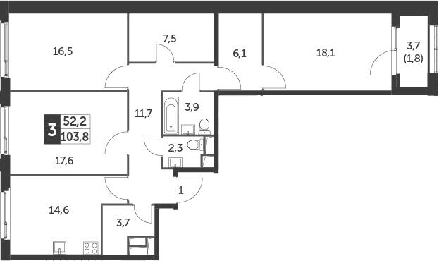 3-к.кв, 103.8 м²