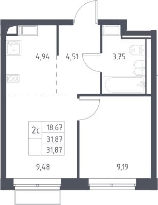 2Е-комнатная, 31.87 м²– 2