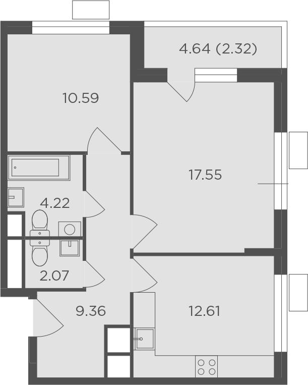2-к.кв, 58.72 м², от 5 этажа