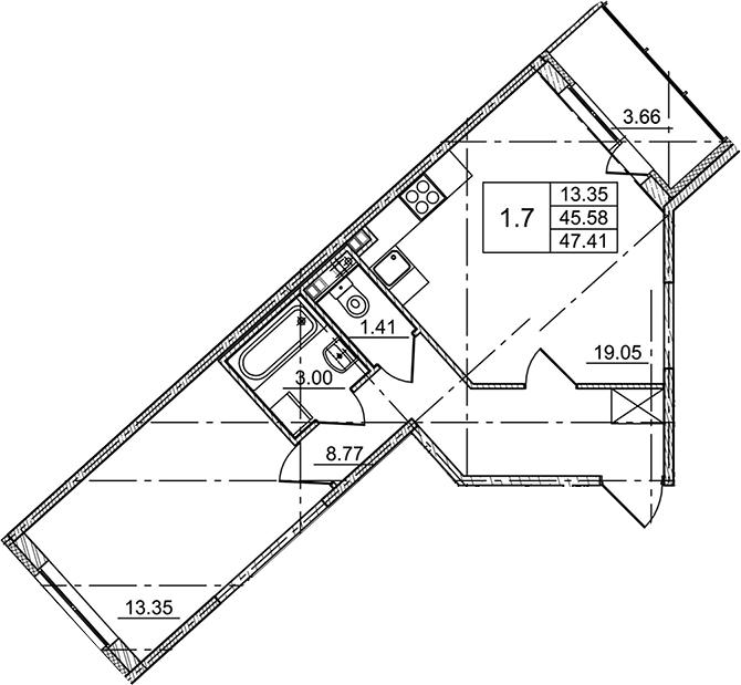 2Е-комнатная, 47.41 м²– 2