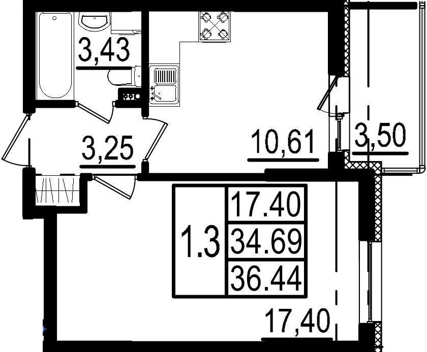 1-к.кв, 38.19 м²