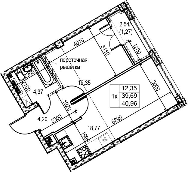 1-комнатная, 40.96 м²– 2