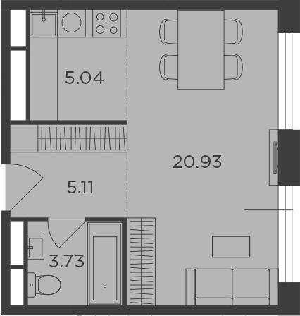 Студия, 34.81 м²– 2