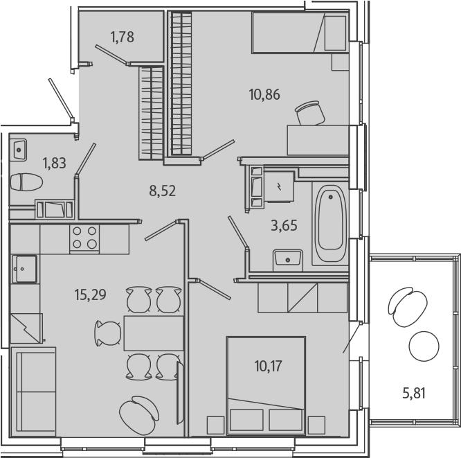 3-к.кв (евро), 57.91 м²