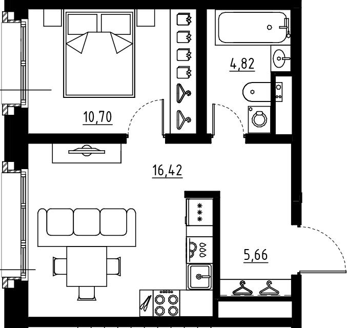 2Е-к.кв, 37.6 м², 5 этаж