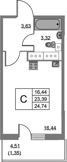 Студия, 24.74 м², 21 этаж