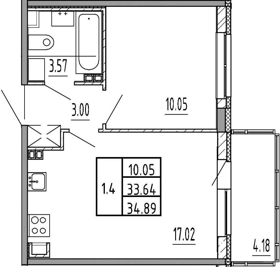 2Е-к.кв, 33.64 м², 4 этаж