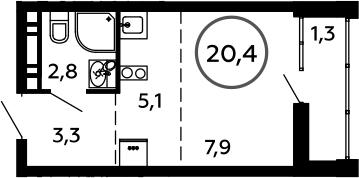 Студия, 20.4 м²