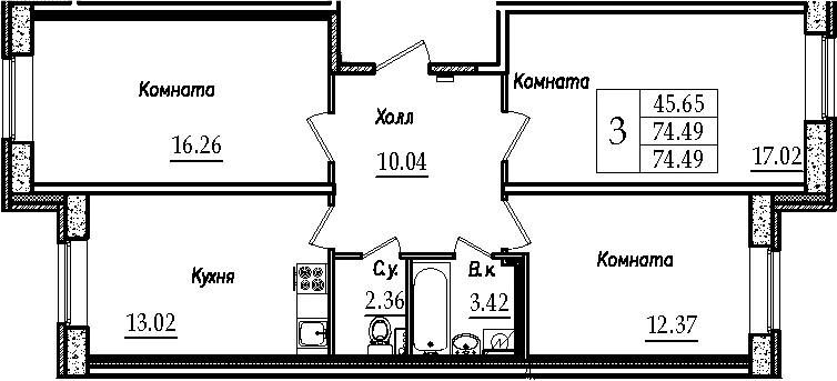 3-к.кв, 74.49 м²