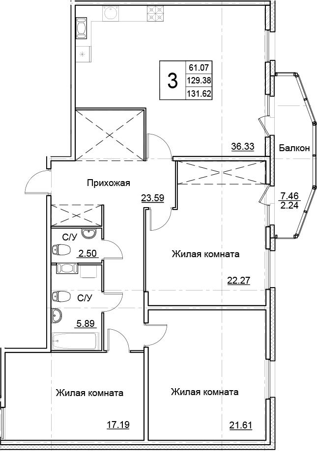 4Е-к.кв, 131.62 м²