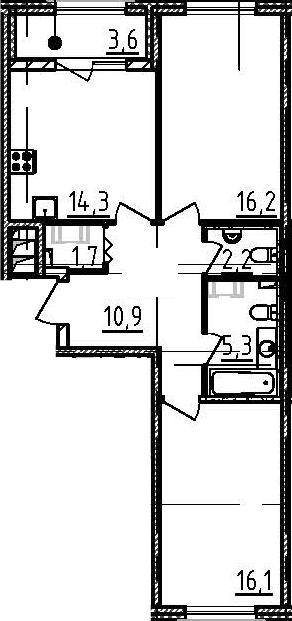 2-к.кв, 70.3 м²