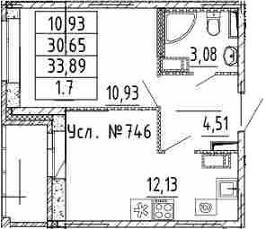 1-к.кв, 30.65 м²