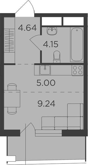Студия, 25.89 м²
