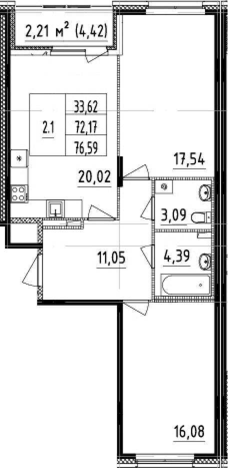 3Е-к.кв, 72.17 м²