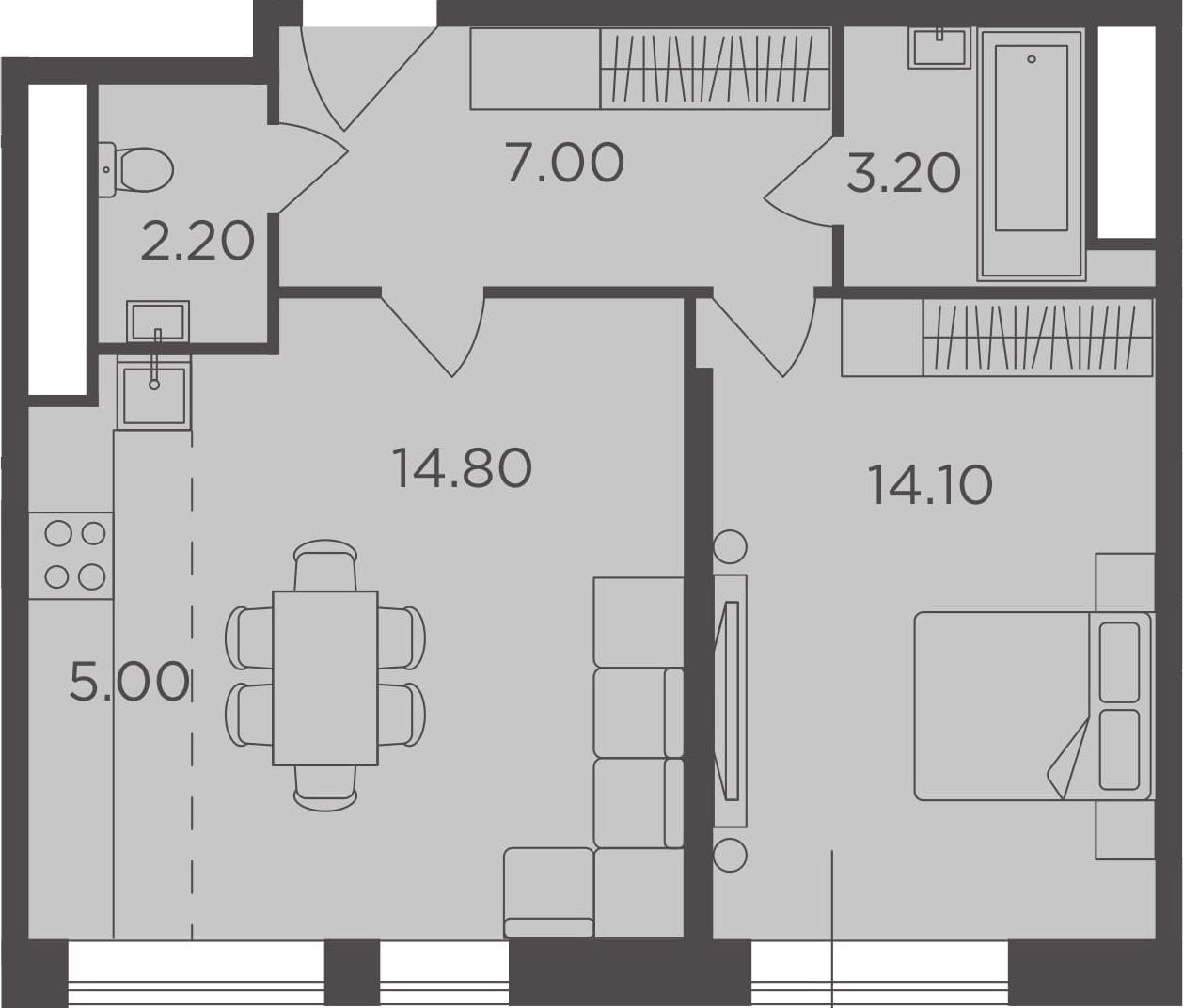 2Е-к.кв, 46.3 м²