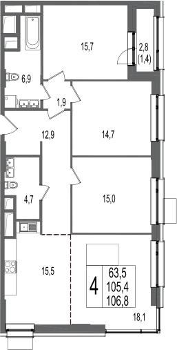 4-к.кв, 106.8 м², 11 этаж