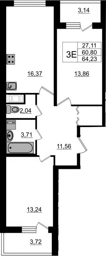 3-к.кв (евро), 67.66 м²