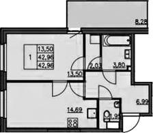 1-к.кв, 51.41 м²