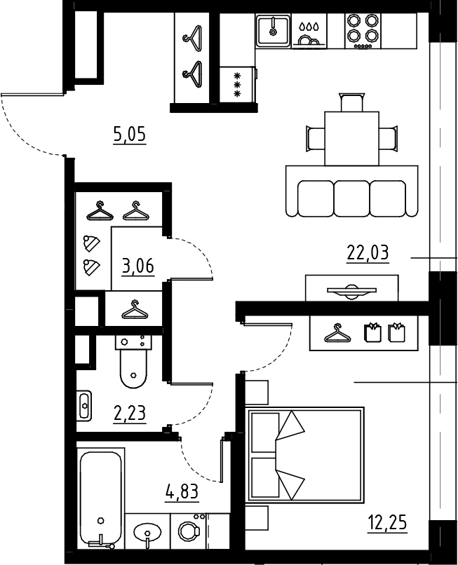 2Е-комнатная, 49.45 м²– 2