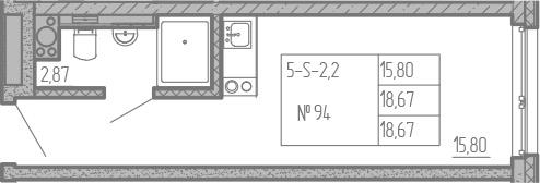 Студия, 18.67 м², от 12 этажа