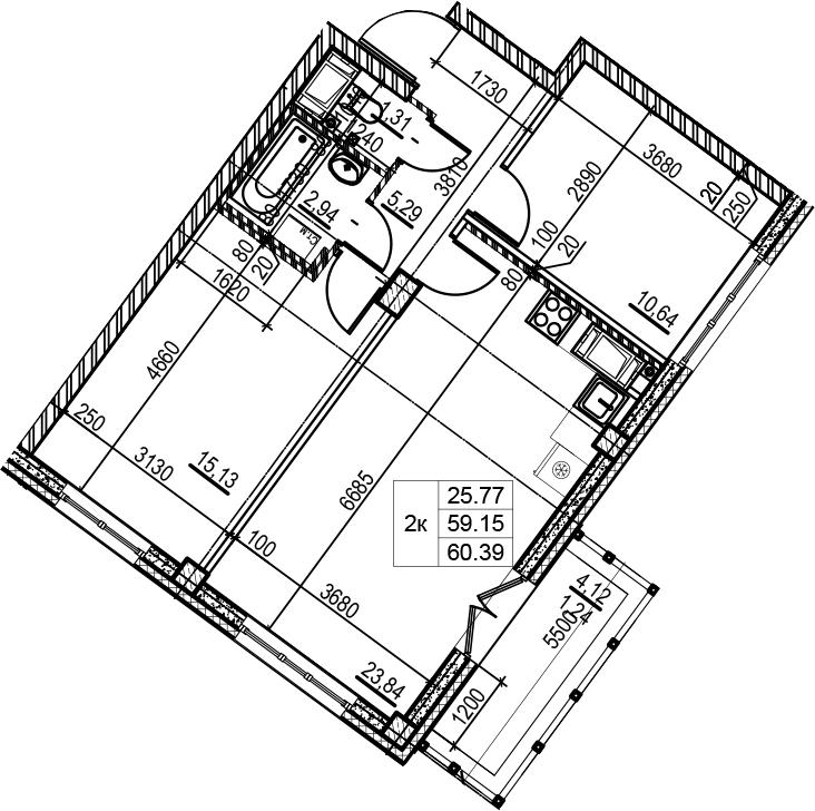 3Е-к.кв, 60.39 м², 8 этаж