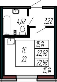 Студия, 22.98 м²