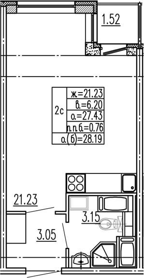 Студия, 27.43 м²– 2