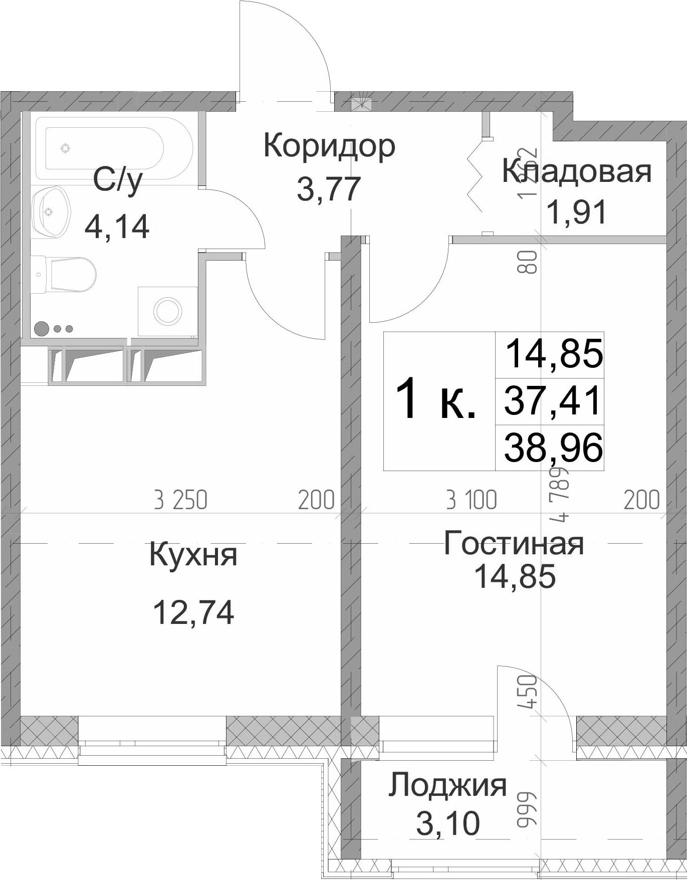 1-к.кв, 38.96 м², 13 этаж