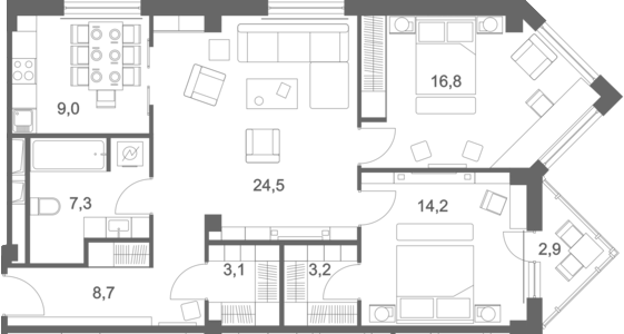 3-к.кв, 89.7 м², 2 этаж