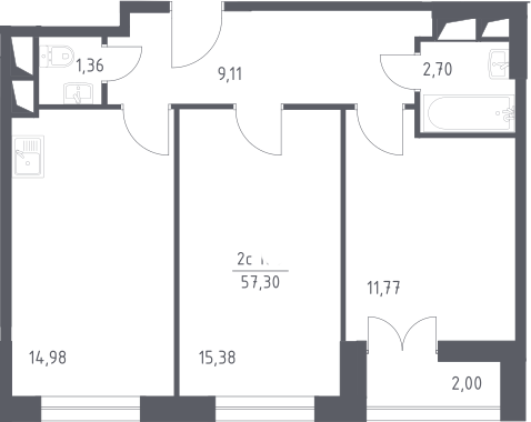 3Е-комнатная квартира, 57.3 м², 16 этаж – Планировка