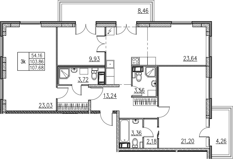 4Е-комнатная, 107.68 м²– 2