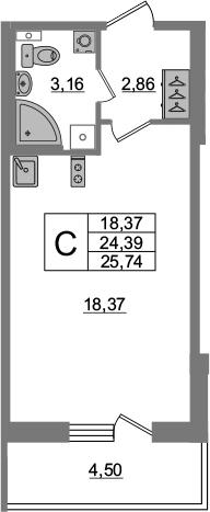 Студия, 24.39 м², 4 этаж