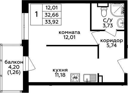 1-комнатная, 33.92 м²– 2